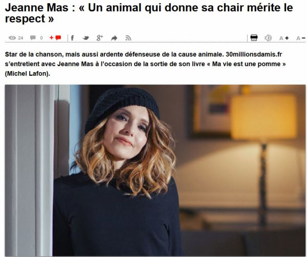 "NEWS WEB : JEANNE en interview sur ""30 millions d'amis.fr"""