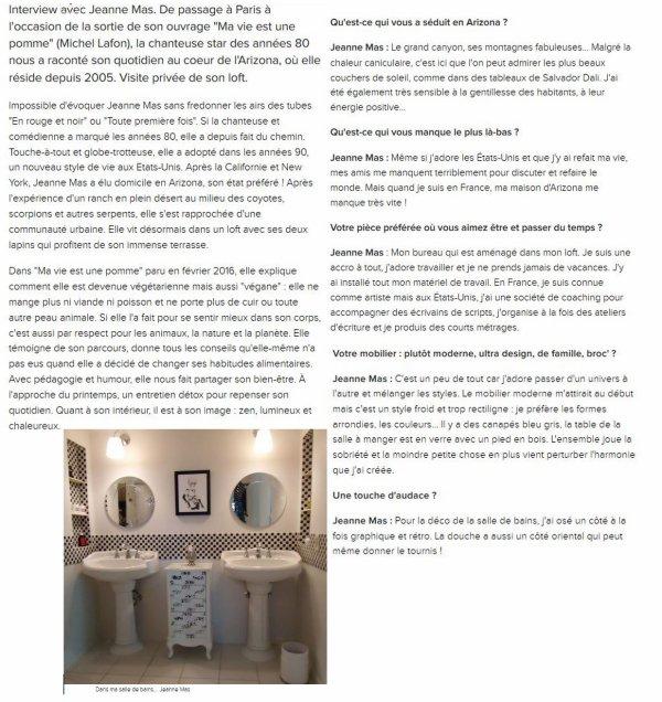 """News Web : Interview de JEANNE sur le site """"Coté Maison.fr"""" ! Elle nous propose une visite privée de son loft, parle déco... etc..."""