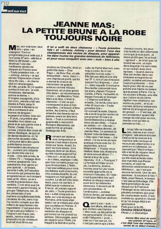 En attendant des news... - Découvrez cet article de presse (printemps 1985) sur les débuts de JEANNE !