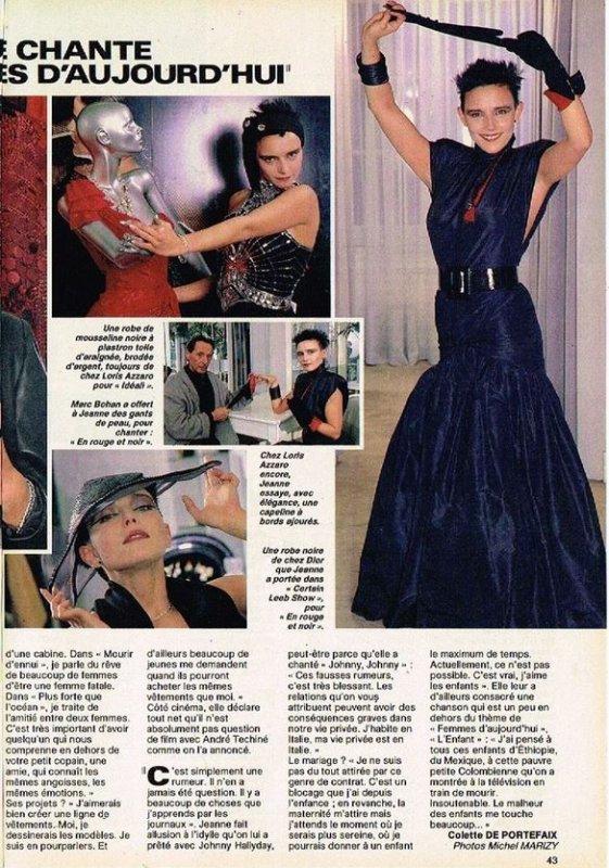 """En attendant des news... - Découvrez cet article de presse (printemps 1986) dans lequel JEANNE parle de son album  """"Femmes d'aujourd'hui """" mais aussi  mode, ligne de vêtements..."""