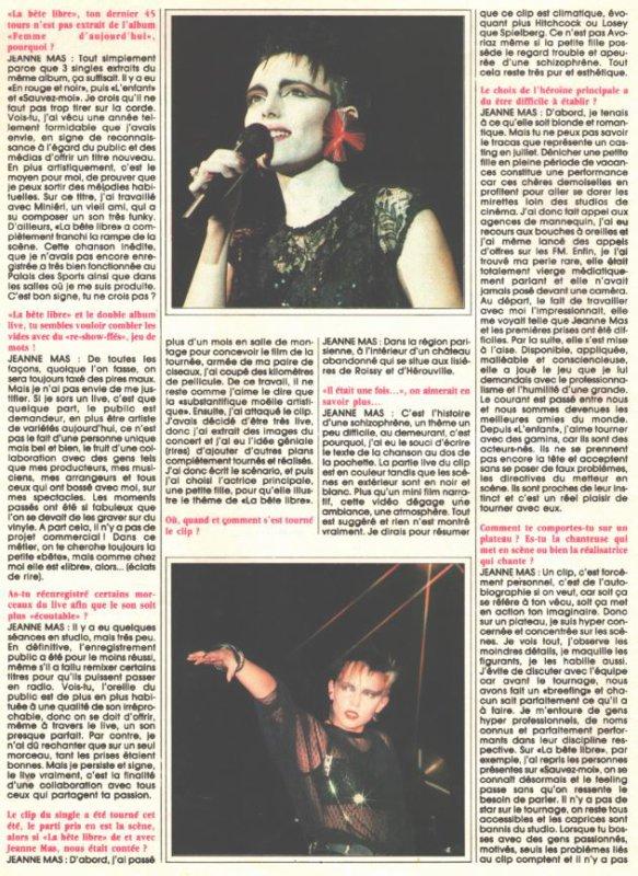 """En attendant des news - Dossier spécial """" LA BETE LIBRE"""" (1987) (réactualisé)avec : Une grande interview de JEANNE, le clip,    le classement au Top 50..."""