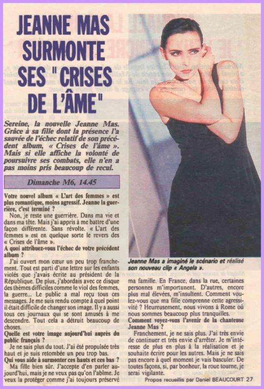 """En attendant des news... - Semaine spéciale album """"L'ART DES FEMMES"""" (1990)  avec :   - Décryptage, titre par titre, de l'album  par Jeanne elle -même - Des critiques de l'album,  - des interviews d'époque...  (1/3)"""