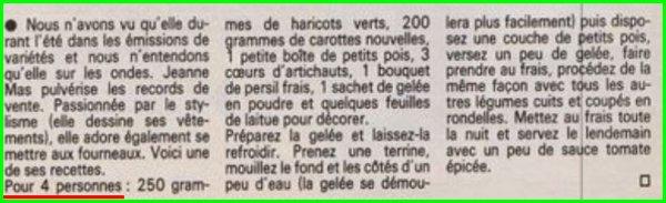 [Article de presse - 1984]   Jeanne vous propose une idée recette :  La terrine végétarienne