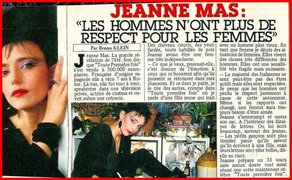 """Article de presse (1984)- JEANNE MAS  """"Les hommes n'ont plus de respect pour les femmes"""""""