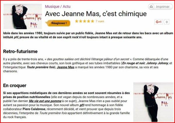 """L'EVENEMENT -  """"PH"""" le nouvel album de JEANNE MAS disponible en téléchargement légal Le CD commence à arriver dans les boîtes aux lettres"""