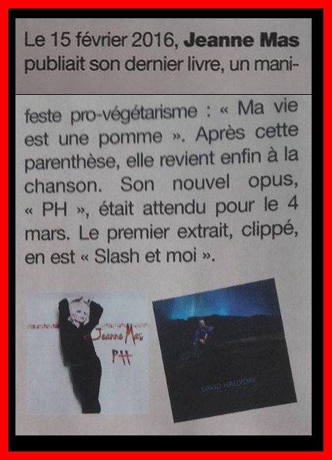 L'évènement - SORTIE OFFICIELLE DU NOUVEL ALBUM de  JEANNE MAS