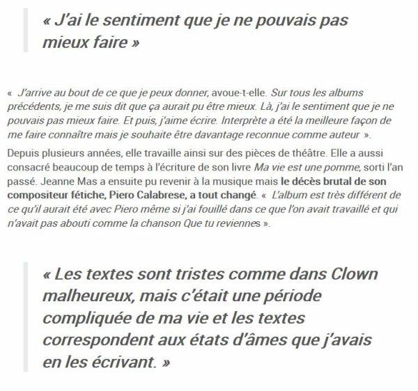 """News presse - Interview de  JEANNE dans """"La voix du Nord"""""""
