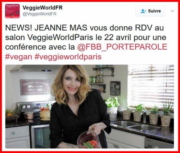 Samedi 22 avril 2017 - JEANNE est présente au Salon VEGGIEWORLD PARIS