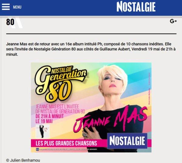 """Promo """"PH""""  (Acte 7) - Jeanne était l'invitée de """"GENERATION 80"""" ce vendredi 19 mai 2017 de 21h00 à minuit sur Nostalgie"""