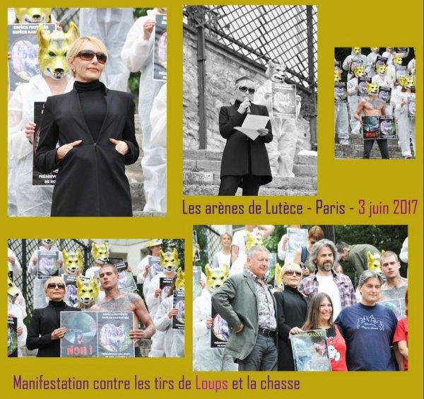 Présence de JEANNE  à la manifestation contre les tirs de loup et contre la chasse (Arènes de Lutèce - Paris - 03/06/17)  -  Le montage et le compte-rendu d'un fan + La vidéo du discours de Jeanne
