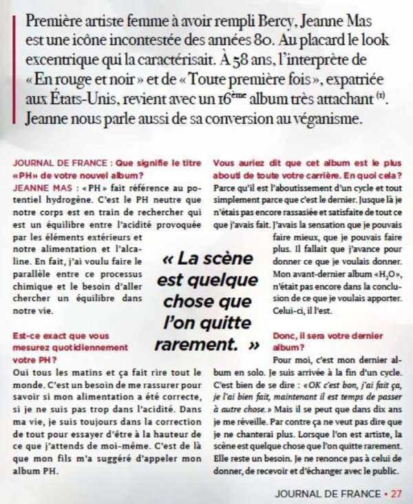 "Promo ""PH""  (Acte 16) Jeanne en interview dans  dans le magazine ""JOURNAL DE FRANCE"""