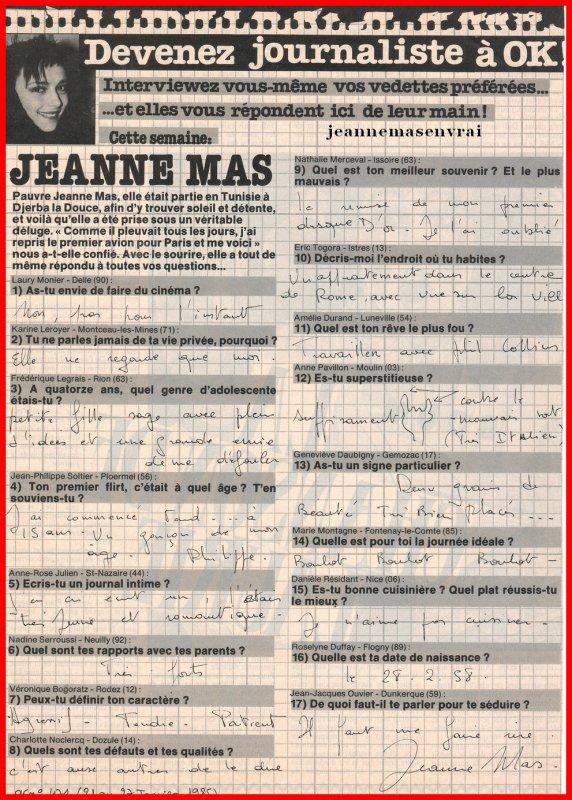 """Article de presse - JEANNE répond aux lecteurs/lectrices  du magazine """"OK! """""""