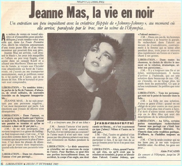 Article de presse - LIBERATION (17/10/1985) - Interview avant l' OLYMPIA 1985