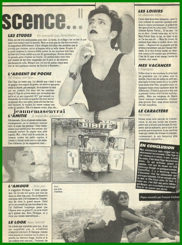 "Article de presse - [""OK magazine"" - Octobre 1989] - JEANNE raconte... son adolescence"
