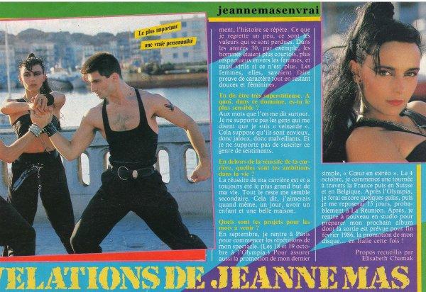 """Article de presse - août 1985 - """"Les surprenantes révélations   de  Jeanne MAS """""""