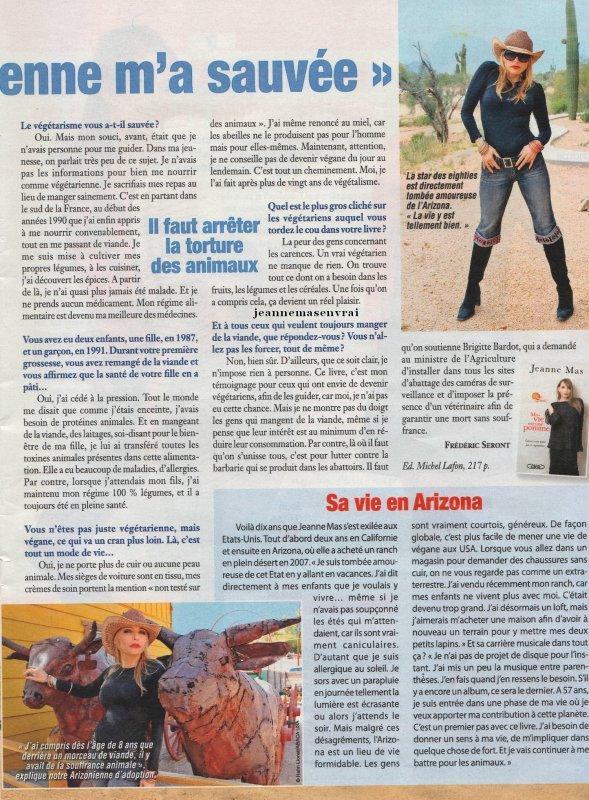 """Article de presse (mars 2016) - Interview inédite de Jeanne dans la revue belge CINE TELE REVUE  """"Etre végétalienne m'a sauvée"""""""