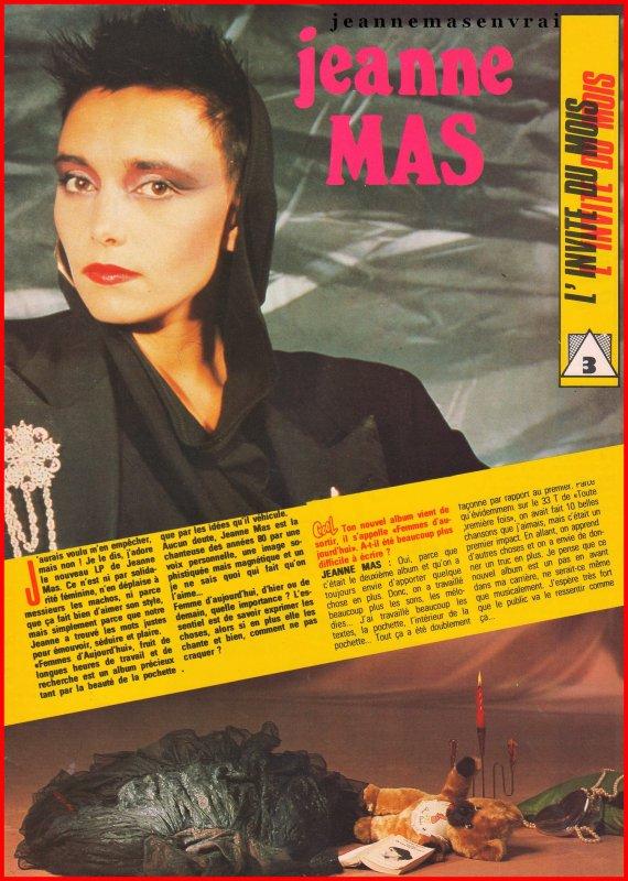 Article de presse  Mai/juin 1986 - JEANNE MAS, l'invitée du mois