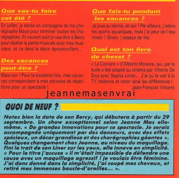 Le passage TV inédit de la semaine - JEANNE MAS - J'ACCUSE (1989) + Interview - article de presse (1989)