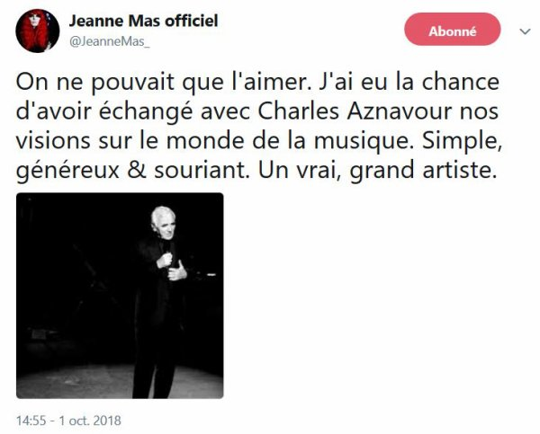 Jeanne rend hommage à Charles Aznavour