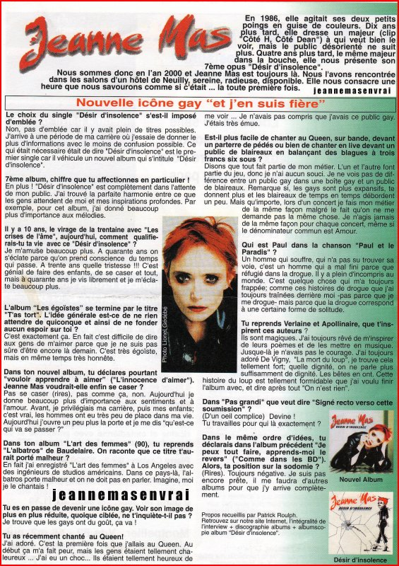 "Article de presse - Interview ""DESIR D'INSOLENCE"""