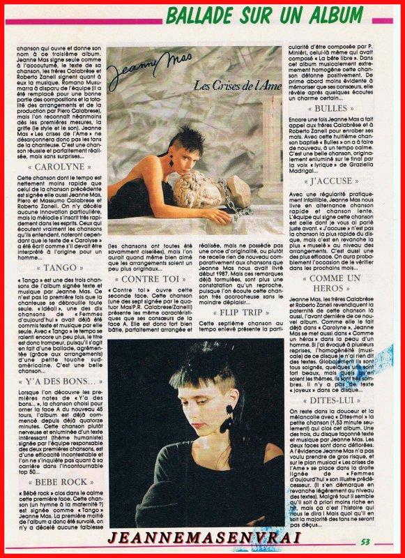 """1989 - 2019 - L'album """"LES CRISES DE L'AME"""" a 30 ans !- Episode 11 La promo... dans la presse (suite 3)"""