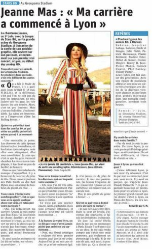 """News presse - Jeanne interviewée dans """"Le Progrès"""" (01/6/19)"""