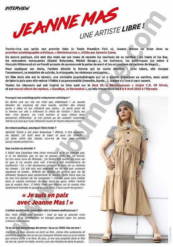 "News presse -  JEANNE en interview dans ""TRIBU MOVE"" (Juin 2019 - N°235)"