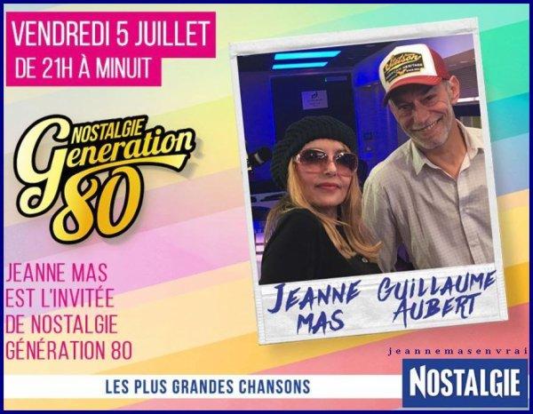 """News radio - Jeanne est l'invitée de Guillaume Aubert dans """"GENERATION NOSTALGIE""""  (05/07/19)"""