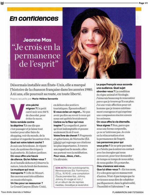 News presse -  Interview de Jeanne dans le  magazine LE PELERIN