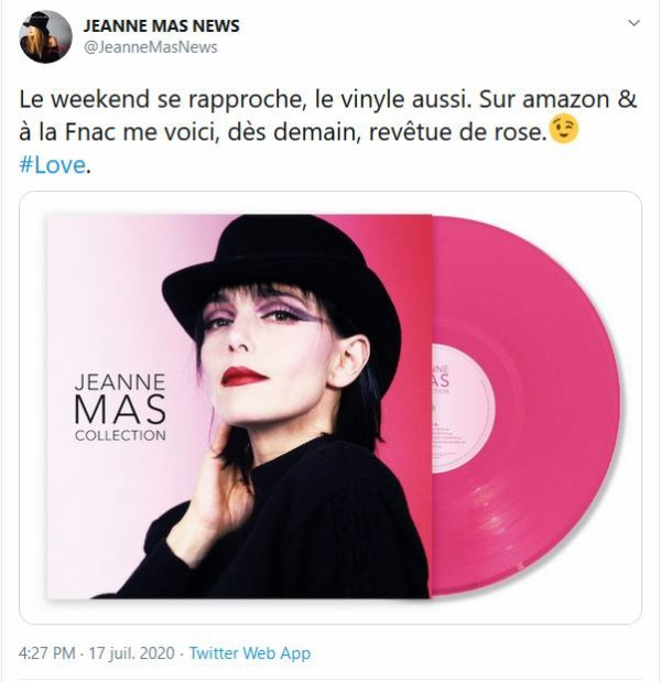 "NEWS  Vinyl  rose ""JEANNE MAS COLLECTION"" Sortie le 04 septembre 2020"