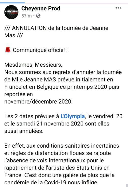 News : Annulation de l Olympia et de la tournée