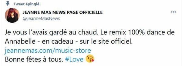 """News- Jeanne nous offre un remix d' """"Annabelle"""" pour NOËL  !"""