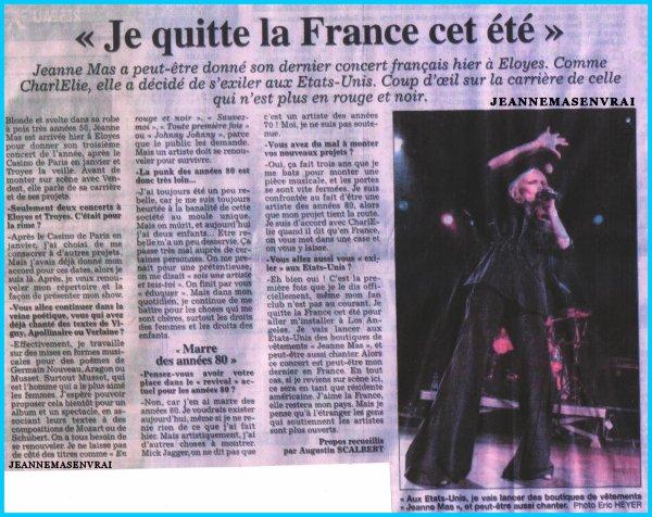 """Le jour où Jeanne annonce son départ pour les USA... - Jeanne interprète """" POUSSIERES DE CASTILLE"""" ,""""JOHNNY,JOHNNY"""", """"24 SEMAINES"""", """" SAUVEZ-MOI""""... en Live le 03 juin à Eloyes (88 - Vosges)"""