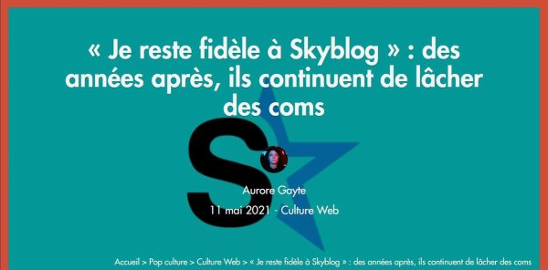 Clin d'oeil - Quel avenir pour Skyblog? Le blog JEANNEMASENVRAI dans un article sur le site NUMERAMA
