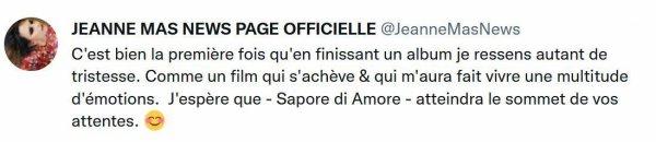 """News Twitter - Nouvel album : """"Sapore di Amore"""" Sortie le 20 octobre 2021 sur I-Tunes Sortie physique le 04/11/2021"""