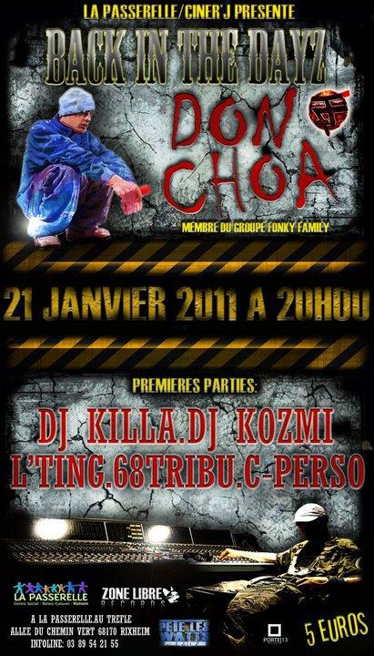 concert le 21 JANVIER AVEC DON CHOA.DJ KILLA.DJ KOZMI.68TRIBU.L TING.C PERSO