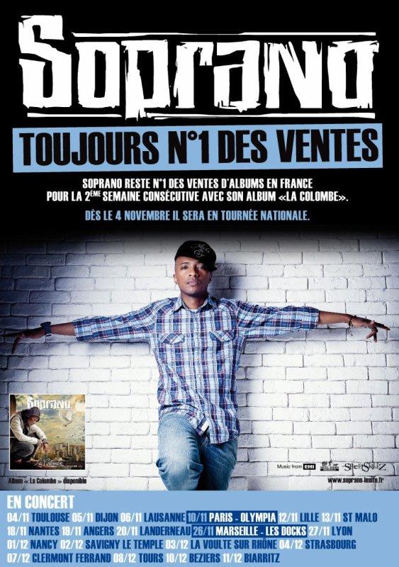 "SOPRANO ""LA COLOMBE"" TOUJOURS NUMERO 1 DES VENTES TOUTES MUSIQUES CONFONDUES"