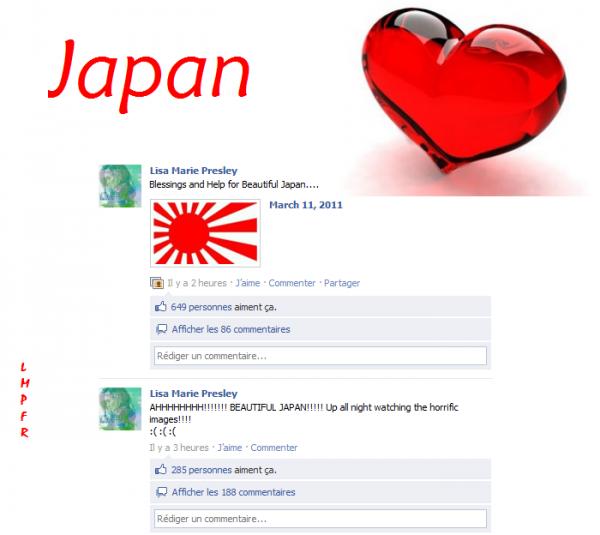 Nouveau message de Lisa sur son facebook dédié au Japon qui vit en ce moment une très grande catastrophe .. God Bless Them (l)