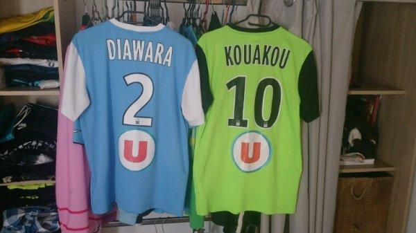 Maillot Tours Fc domicile et extérieur saison 2014-15 de F.Diawara et C.Kouakou