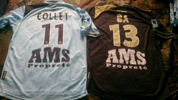 Maillot Tours Fc domicile et extérieur saison 2006-07 portés par C.Collet et J.Ba