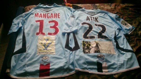 Maillot Tours Fc domicile + Collector Metz saison 2008-09 portés par F.Atik et M.Mangane