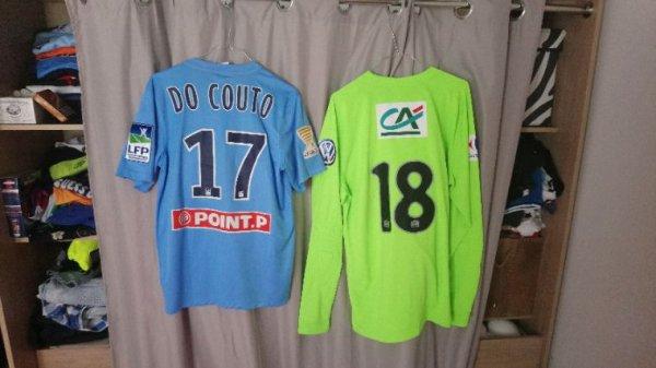Maillots Tours Fc saison 2015-2016 portés par M. Do Couto en coupe de la ligue + B.Kamara en coupe de France (entraînement)