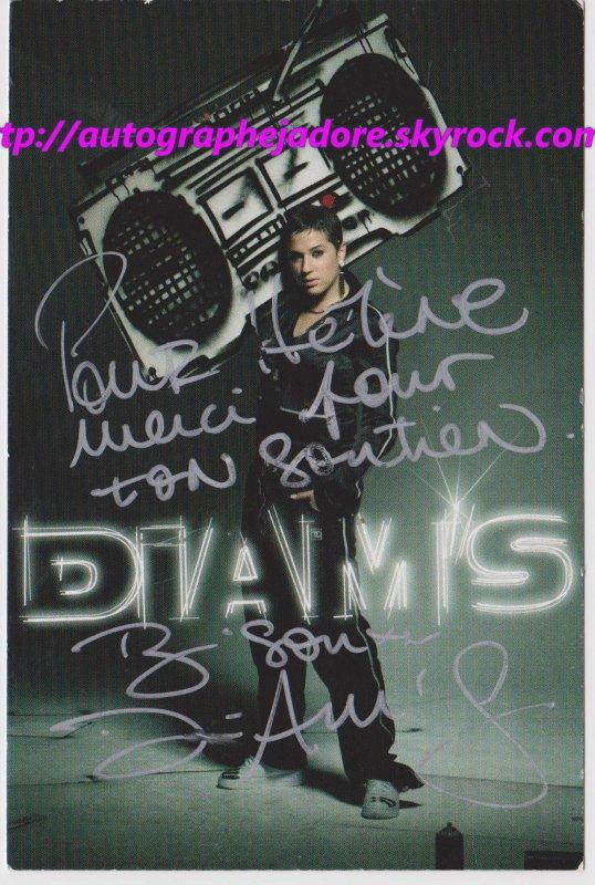 autographe de   la chanteuse diam's