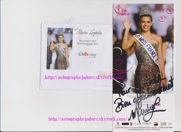 autographe de Marine Lorphelin