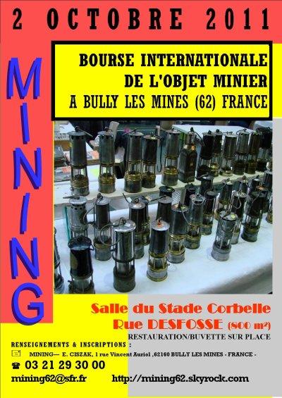Les inscriptions ont commencées ... pour le 11ème salon international de l'objet minier le 2 octobre 2011