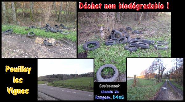 Décharge sauvage de pneus à proximité de Pouilley les Vignes