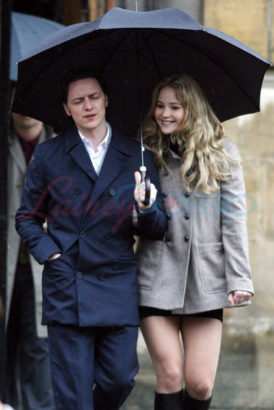 jennifer lawrence et james mcavoy sur le tournage de X-Men