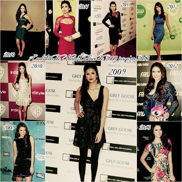 Evolution de Nina Dobrev de 2009 jusqu'en 2013