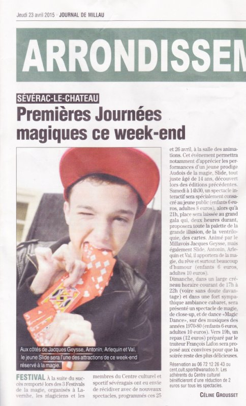Article paru sur le journal de Millau