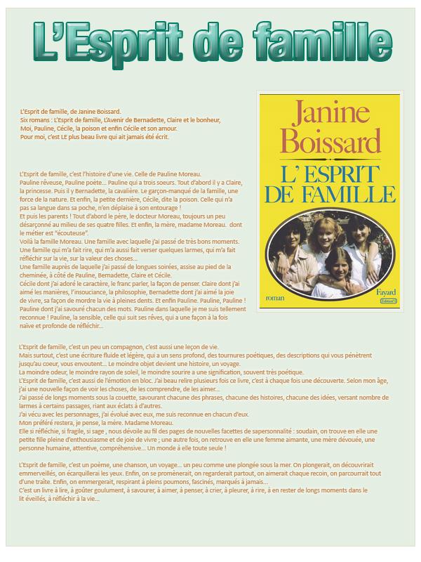 Janine Boissard L'esprit de famille